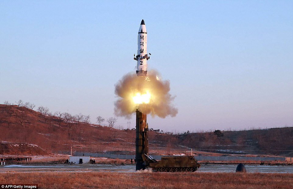 South Korean defense officials estimated the Pukguksong-2 (pictured) missile's range to be around only 1,242 miles