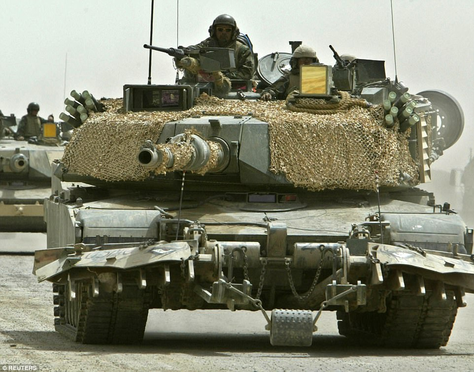 In comparison, the US is believed to have only 140 M1 Abrams tanks (pictured several years ago in Iraq) stationed in the South Korean city of Paju near the border with the North