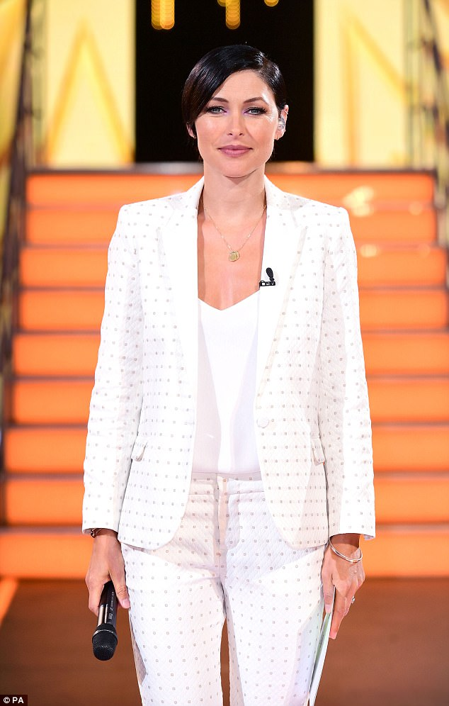 A bit of all-white:The first live eviction was of course, hosted by Emma Willis (above) - who looked typically stunning in a trendy white trouser suit