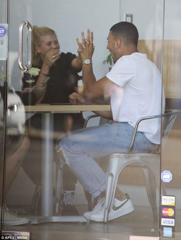 High five! Sofia Richie was spotted enjoying time with Kourtney Kardashian's boyfriend of nearly a year, boxer Younes Bendjima in LA on Thursday
