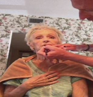 Quinn live-streams the make-up sessions from his mother's nursing home so that friends and family can tune in