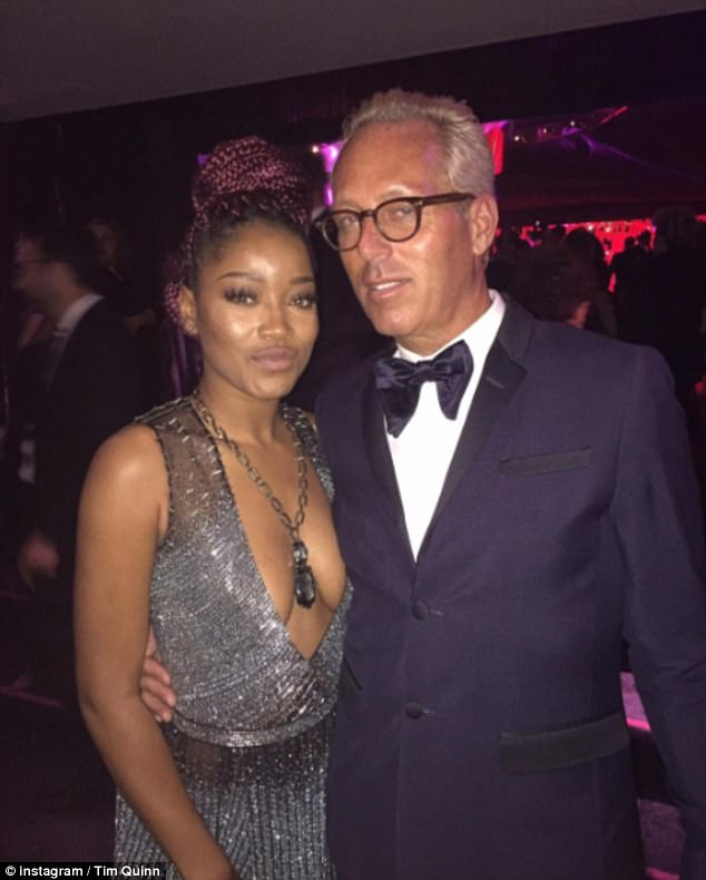 Tim is pictured after the Golden Globes with actress Keke Palmer. Quinn has worked with several celebrity clients, but has recently gotten a lot of attention for his work with his mom