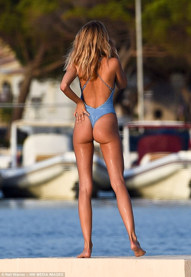 That'll Garner attention:The former Made In Chelsea star flaunted her peachy derriere in the thong-style costume which left very little to the imagination