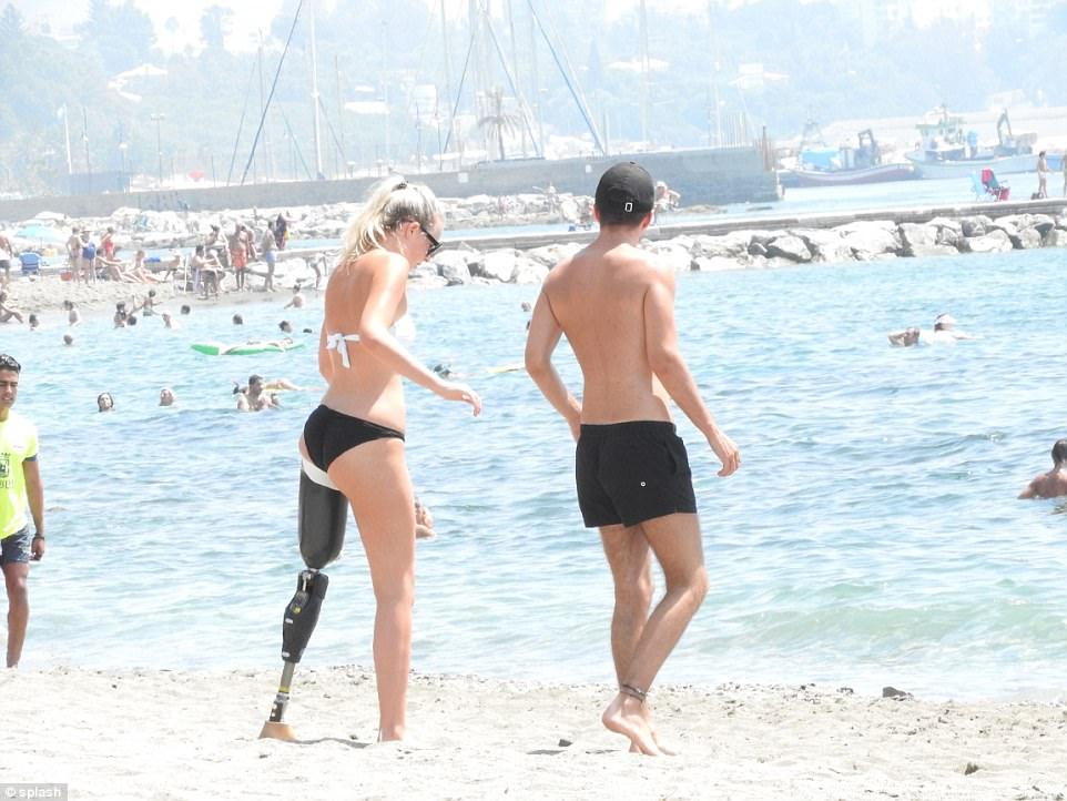 The 19 year old, who lost her leg in the horrific incident at the theme park, is enjoying her holiday in the sun with her boyfriend