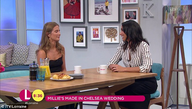 Christine enthused: 'Congrats', to which Millie replied, 'Thank you. It was a surprise. I'm very, very happy'