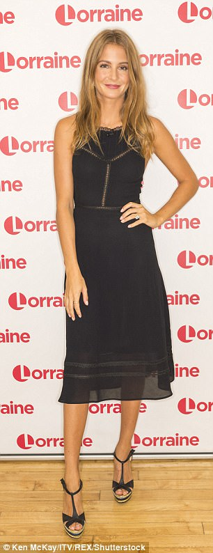 Chic: The former Made In Chelsea star looked lovely in a simple black dress set off by a pair of peep-toe wedges
