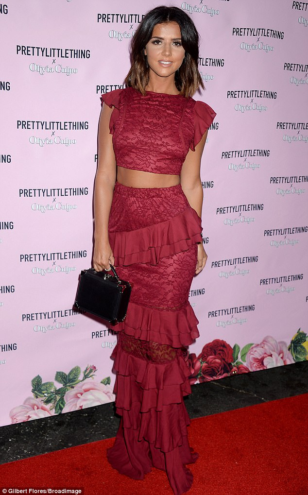 Senorita: Lucy Mecklenburgh, 25, wore a flamenco-inspired ensemble of a ruffled red midi skirt and matching crop top at the PrettyLittleThing x Olivia Culpo launch in Los Angeles on Thursday night