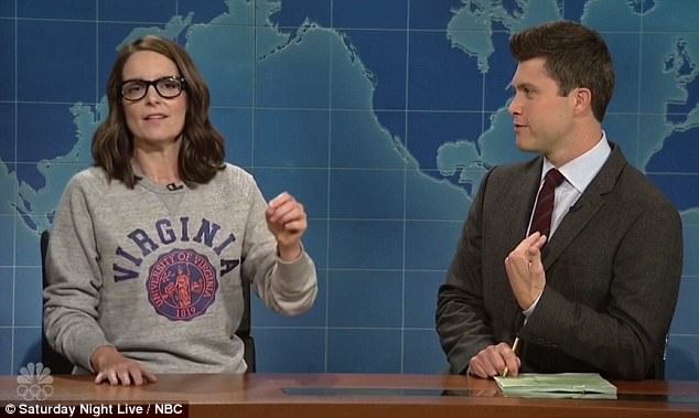 Fey, who is a 1992 graduate of the University of Virginia,shared her thoughts about  deadly violence in Charlottesville and blasted the president for his controversial remarks. She said: 'Nazis are always bad, I don't care what you say.'