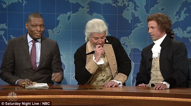 Fellow comedians Jimmy Fallon and Seth Meyers also appeared on Weekend Update separately from Fey as two slave-owning founding fathers.Fallon, portrayed President George Washington (center), while Meyers dressed up as President Thomas Jefferson (right).
