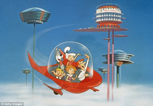 Ahead of it's time: The futuristic cartoon, which followed the antics of George, Jane, Judy, and Elroy Jetson along with their robot maid Rosie and family dog Astro, ran as complementary programming to the network's other animated franchise, The Flintstones
