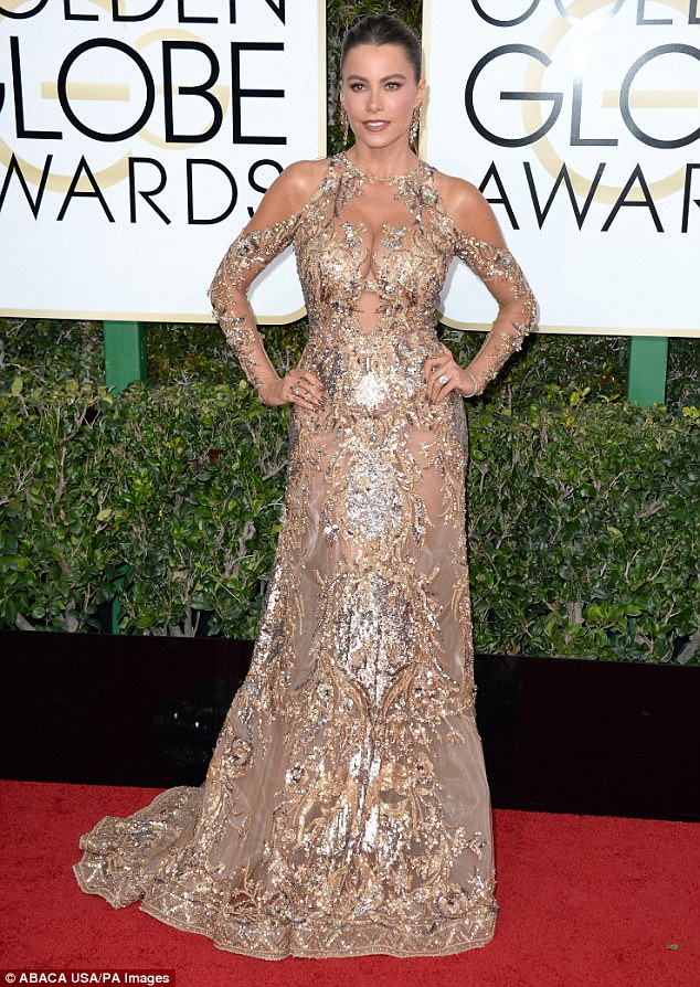 Fab at 45:The Colombian-born beauty (pictured at the Golden Globes in January 2017) known for her jaw-dropping figure, poured her hourglass curves into an ebony corset which showed off her pert assets and slender waist