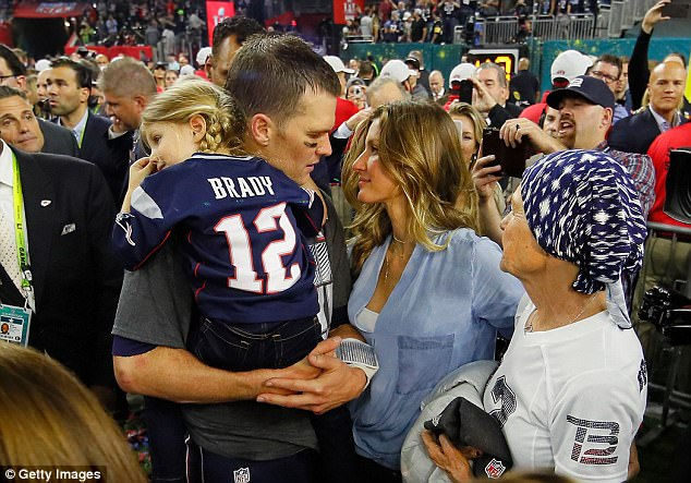 Bundchen said: 'He had a concussion last year. I mean he has concussions pretty much every - I mean we don't talk about - but he does have concussions' (Pictured above after Brady won the Super Bowl in February 2017)