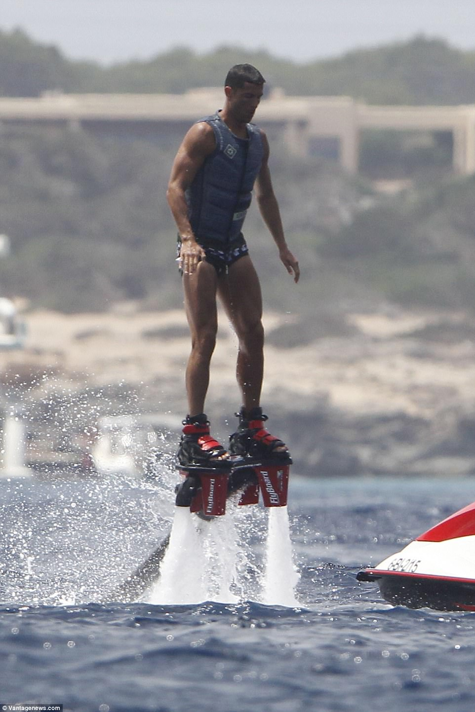 Up in the air: At one point during flyboarding, it looked like he was levitating