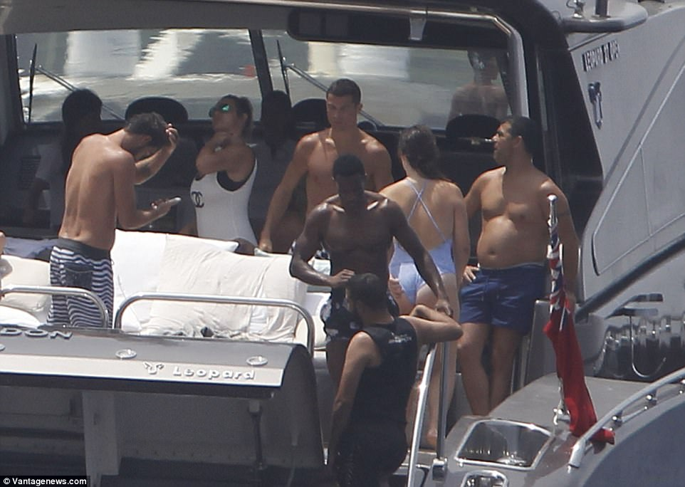 Popular: Cristiano proved to be in great spirits as he was joined by a bevy of equally striking looking pals