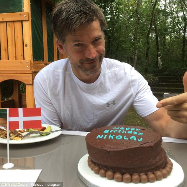 Taking the cake: The Danish entertainer celebrated his 47th birthday on Thursday