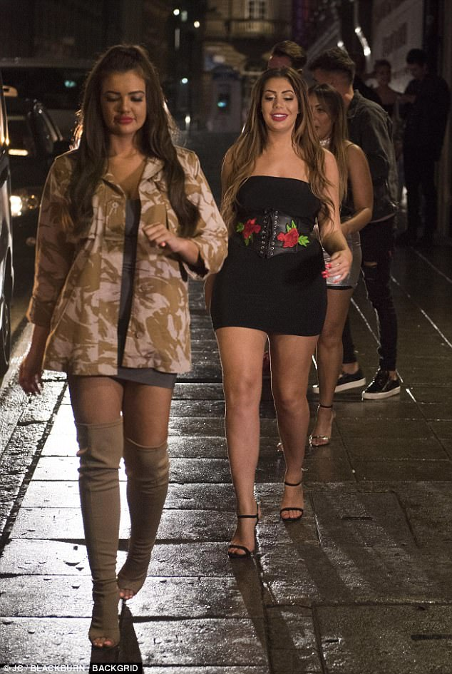 Party pals: Chloe followed her new co-star Abbie to their waiting car