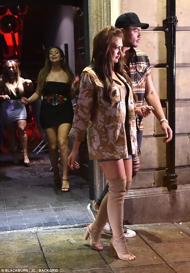 Closing time: Nathan and Abbie left the club in style while Chloe followed behind the pair