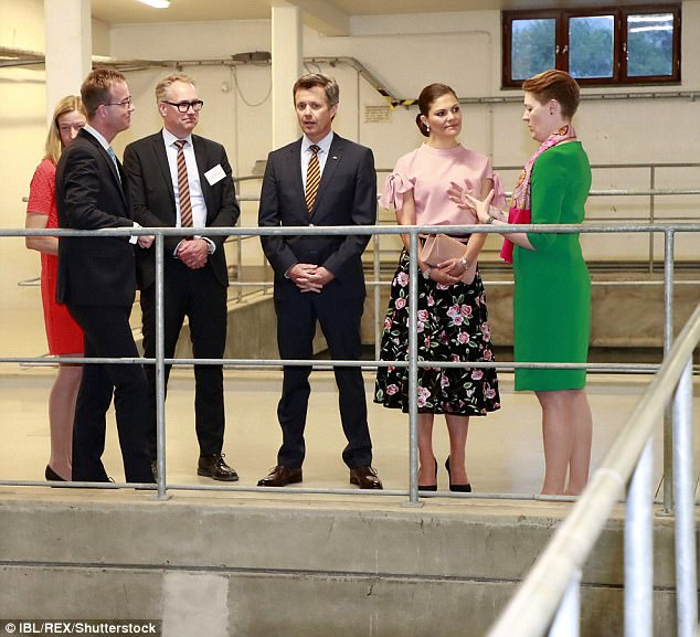 Crown Princess Victoria and Crown Prince Frederik popping into Stockholm Vatten water factory in Drottningholm