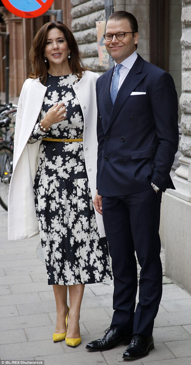 Crown Princess Mary and Prince Daniel later arrived at a reception at the Danish Embassy