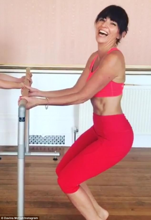 'Blushing':Davina performed a series of pelvic thrusts in a funny Instagram clip on Monday