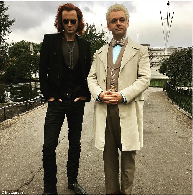 New project: Sheen has had his hair dyed blonde for his role as the angelAziraphale opposite David Tennant, with red hair, as the demon Crowley in the Amazon Prime series Good Omens