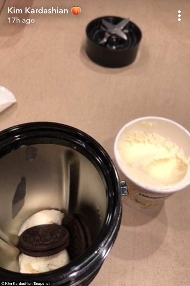 Sweet tooth:One video shows a cookie and cream mixture that Kim makes with her NurtiBullet