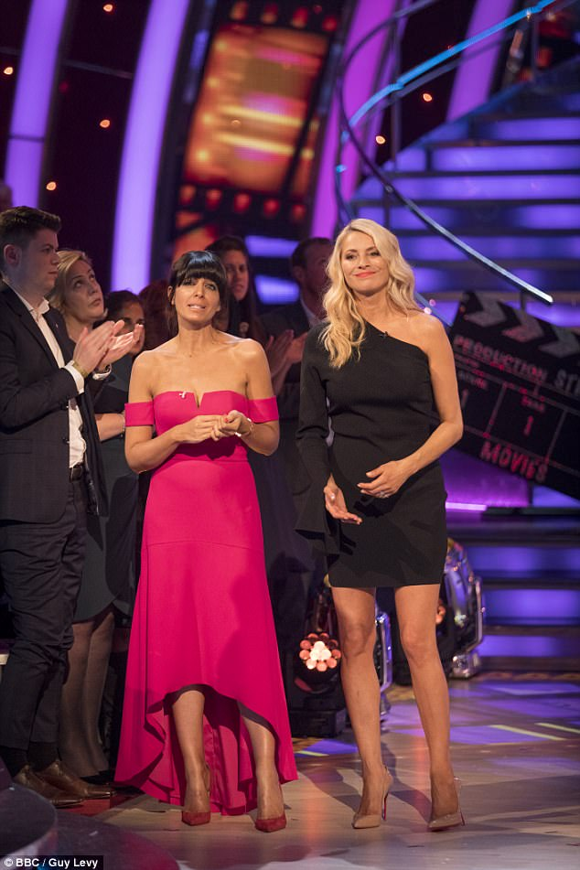 Hosts: Tess Daly (R) and Claudia Winkleman (L) opened the results show, rocking contrasting looks