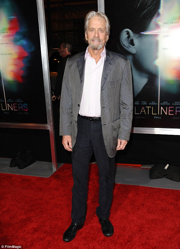 Proud grandfather: It will be the first first grandchild for Michael Douglas, who was at the premiere of Los Angeles premiere of Flatliners on September 27