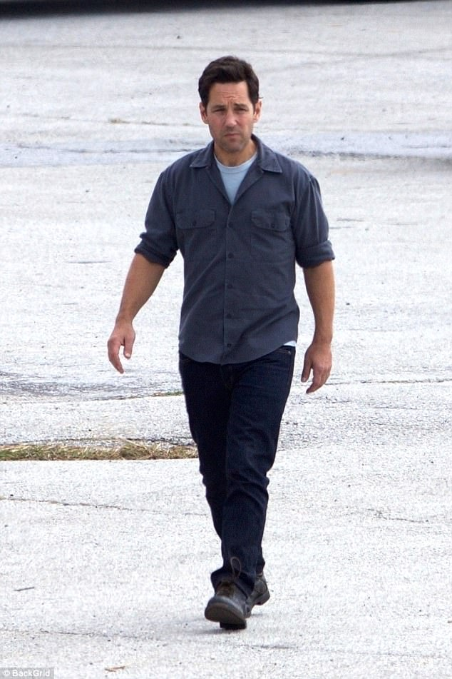 Dashing: Cast members of the Avengers movies, including Paul Rudd who plays Ant-Man, were glimpsed on Saturday turning up to filming in Fayetteville, Georgia