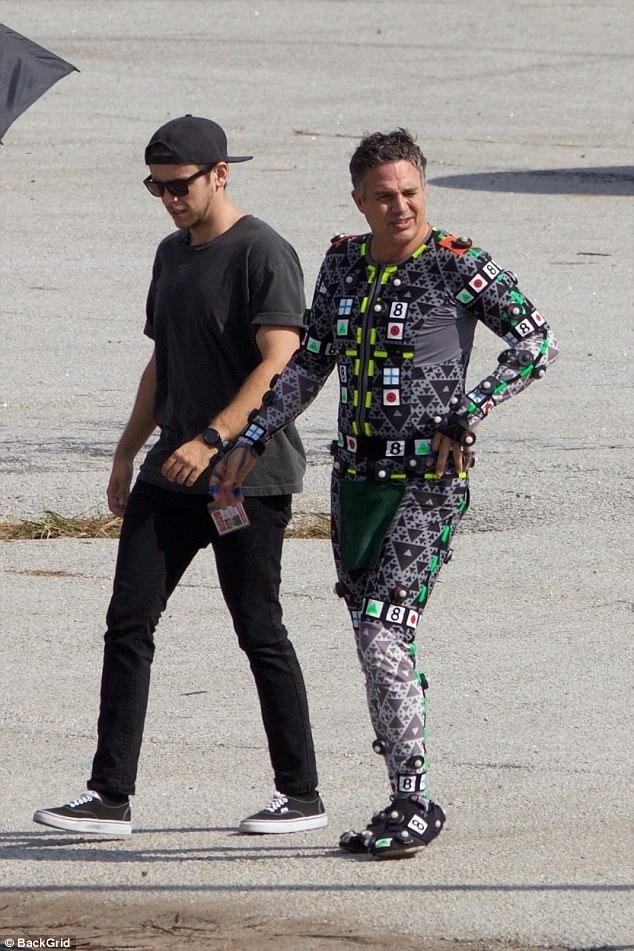 Behind-the-scenes: Mark Ruffalo was spotted in what appeared to be his motion capture suit to play The Hulk