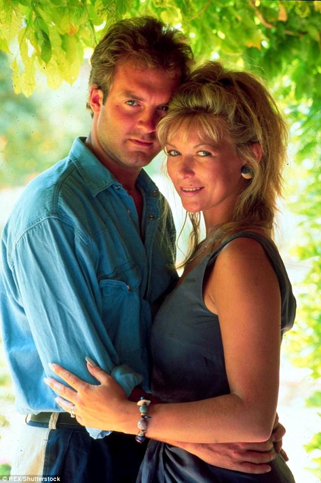 Tough time: Claire King, who portrayed Kim Tate in Emmerdale for ten years, has now revealed that her divorce from her gambling, drinking and cheating co-star Peter Amory drove her to drink and struggle with debt (both pictured in 1994)