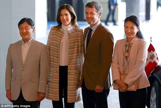 The Danish royals, pictured with Crown Prince Naruhito and Crown Princess Masako, are visiting Japan to mark 150 years of diplomatic ties between the two countries