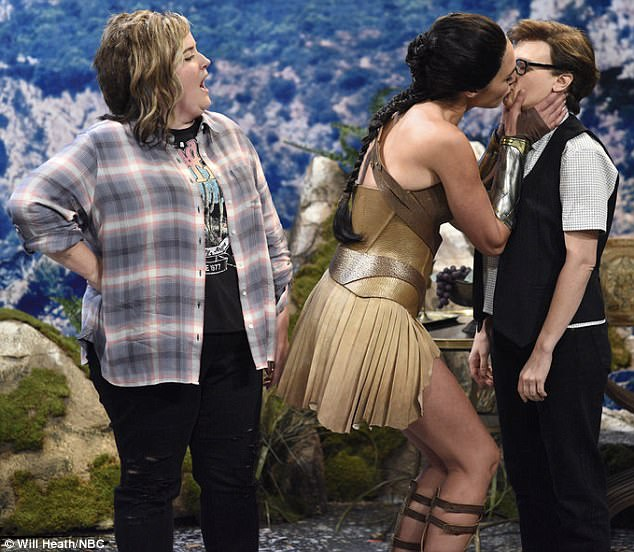 Locking lips: On Saturday, Gal Gadot, 32, kissed comedian Kate McKinnon, 33, in an SNL spoof of the superhero film