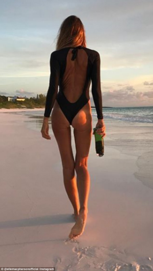 Cheeky! Elle has previously shared a snap of herself in a backless one-piece