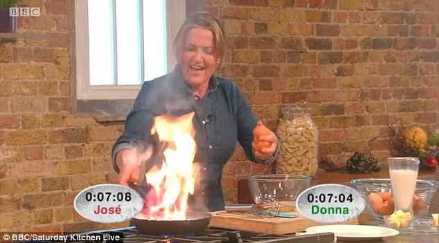 Wow:The Australian cookery author was facing off against Spanish chef José Pizzaro as they battled it out to cook a three egg omelette as quickly as possible