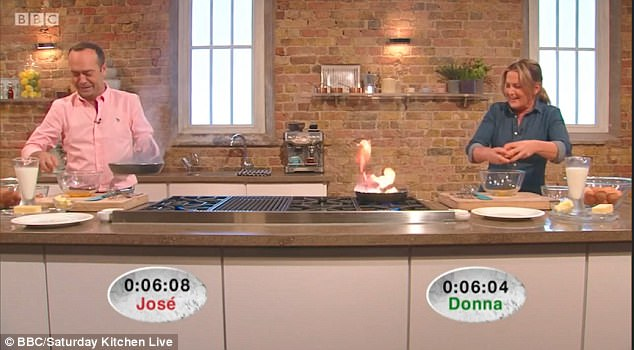 Oh no:But the situation quickly turned as the pan went up in flames as Donna shouted out 'It's on fire, Jose I'm on fire!'