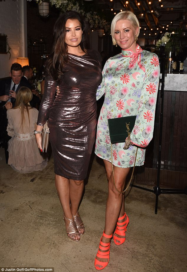 Leggy: Jessica Wright, 32, was also at the wedding and showed off her hourglass curves in a metallic ruched bodycon dress as she posed with Denise Van Outen, 43