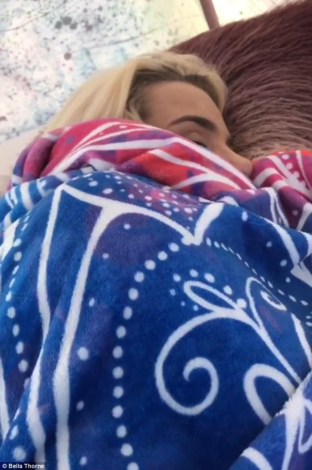 Adorable: Bella posted a photo of Tana sleeping  on her Instagram