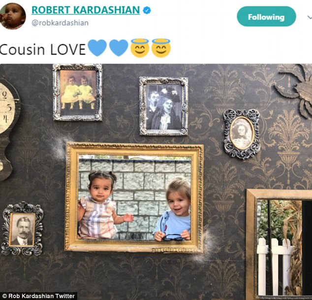 Peekaboo!: Earlier on Friday, Rob had tweeted a photo of little Dream posing in the cutout of a wall with her two-year-old cousin Reign Disick