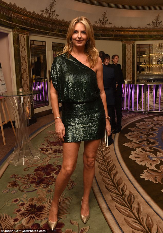 Dazzling:Penny further elongated her sensational pins with a pair of gold pointed court heels, and displayed her toned arms in the number