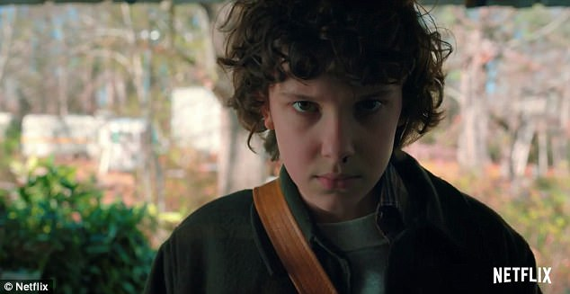 Making her return: Eleven returns - and with a brand new hairdo - in the final trailer for Stranger Things 2, released on Friday the 13th