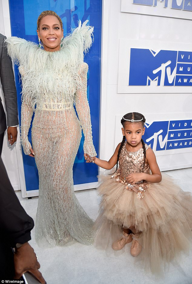 Doting mother: Beyonce and husband Jay-Z, 47, are also proud parents to daughter Blue Ivy, five (pictured at the MTV VMAs in New York in August 2016)