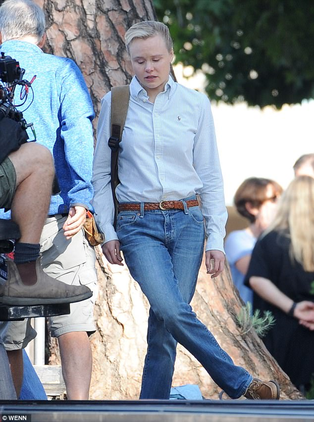 Transformation: Also spotted on Thursday was actress Alison Pill making her debut as Cheney's daughter Mary