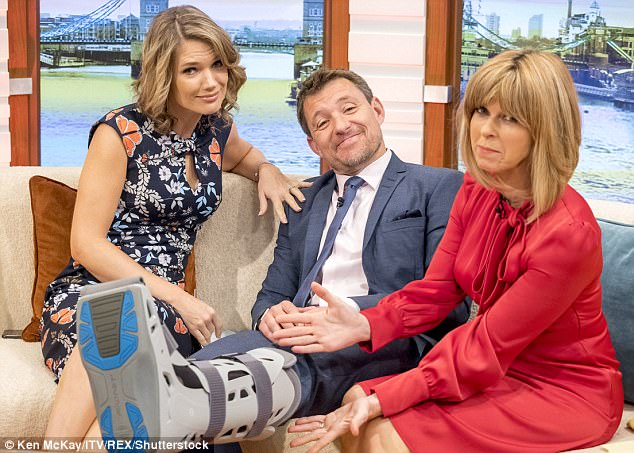 Amusing:Taking it in his stride, Ben joked he was 'modelling the latest in high street injury chic' with his moon boot, before quipping it was a result of him trying to be a 'ninja' and failing