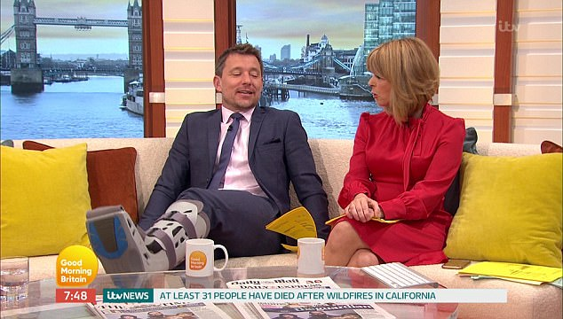 Hard to miss: The star's injury didn't go unnoticed on the show as he sat on the sofa with his co-host Kate