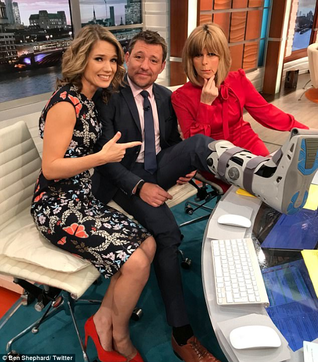 Misfortune: The TV presenter, 42, revealed he had fallen from a wall while trying to impress his children and had ruptured ligaments in his ankle, but chose to ignore the pain in the days that followed