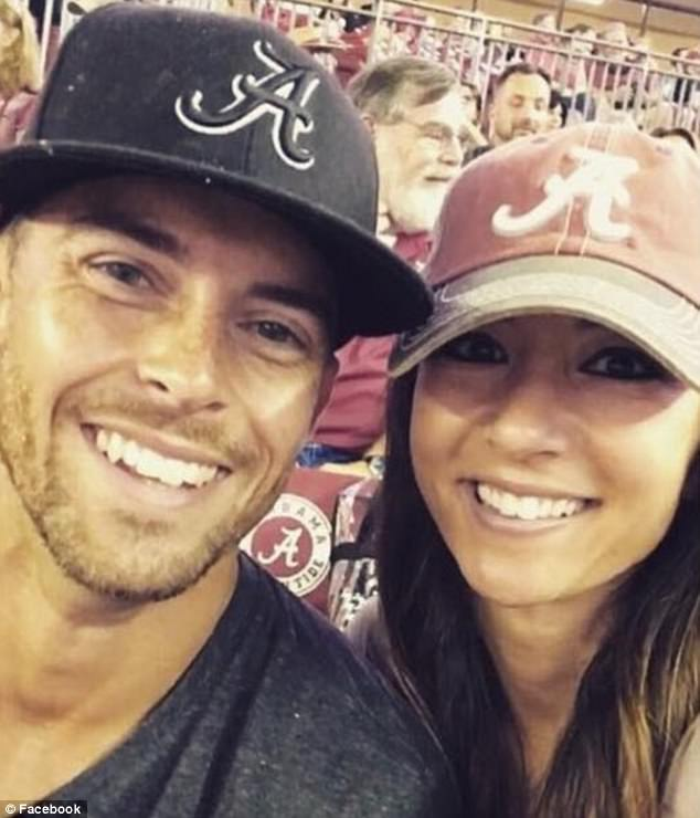 Blackburn and Monroy (pictured together at a football game) met at a CrossFit gym in September 2016 and he proposed to her on November 8