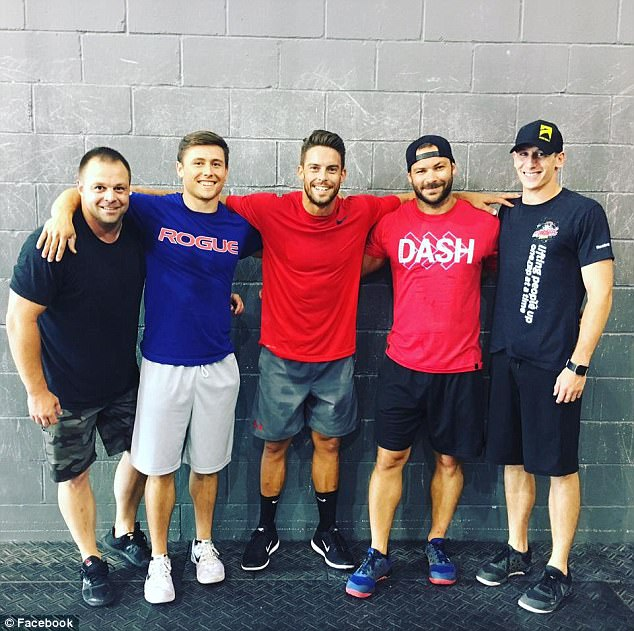Blackburn (center, pictured with friends at a CrossFit gym) said at the time of Amanda's death two years ago:'I have not only lost my ministry partner and support but also my very best friend. My wife was such a beautiful, gracious, loving woman of God'