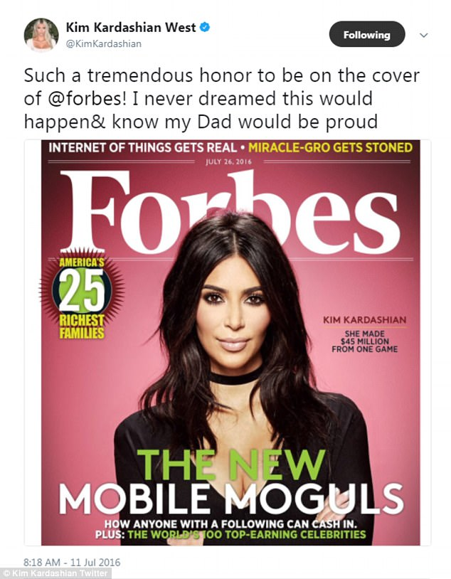 Honored: She even appeared on the cover of Forbes magazine last year as part of the publication's The New Mobile Moguls feature