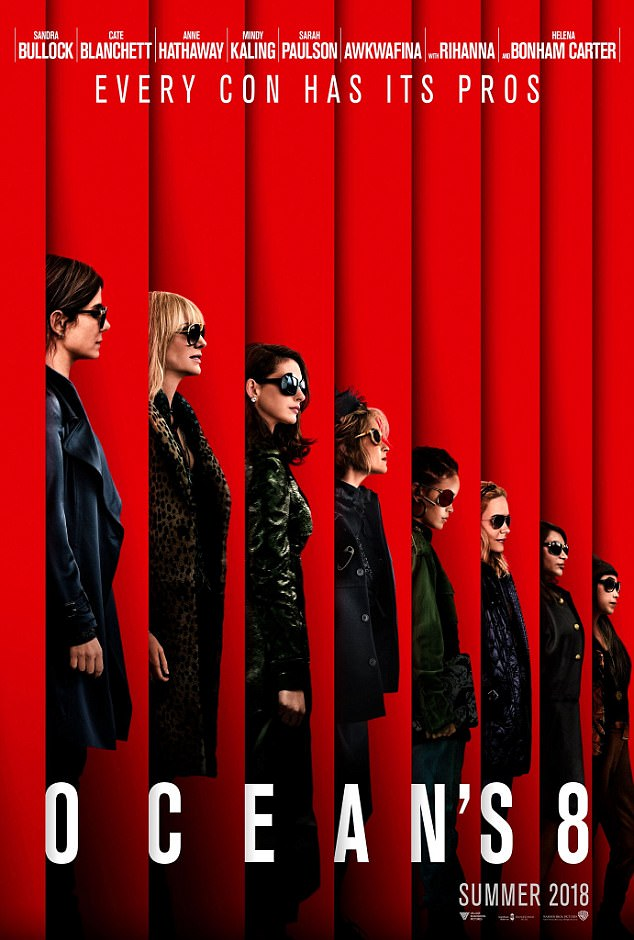 The list:The slick new poster for Ocean's 8 was released last week. It shows them lined up in profile, all wearing dark overcoats and shades